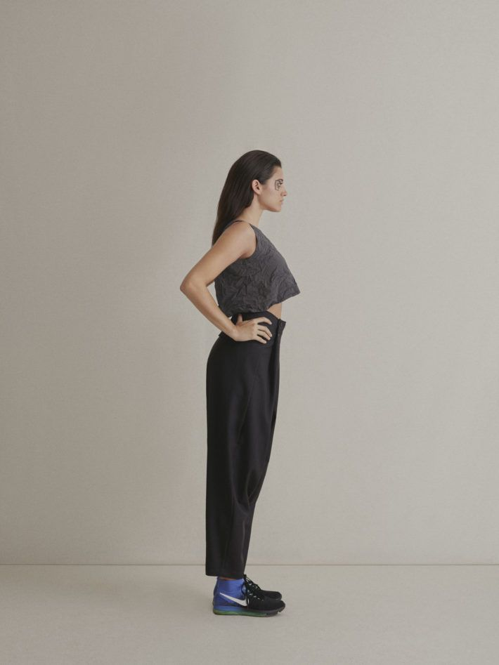 COTTON SHORT TOP |  WOOL JAPANESE TROUSERS