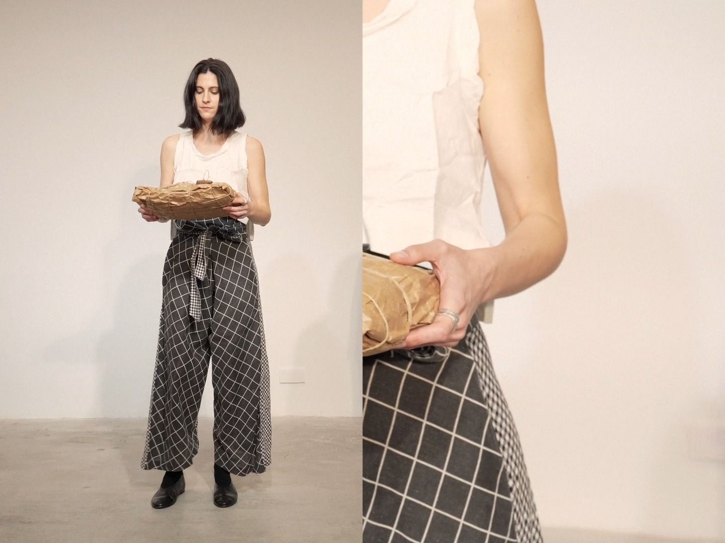 WHITE LINEN TOP | TWO FABRIC BALLOON TROUSERS